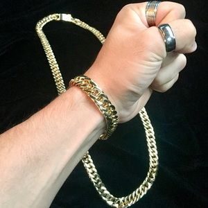 Other - DOUBLE CUBAN LINK BRACELET 18K GOLD MADE IN ITALY